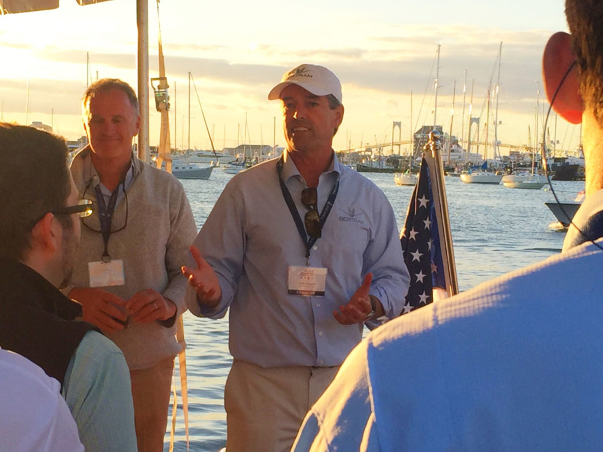 CEO Peter Truslow (center) talked about Bertram's new 35-footer during a press conference at the show.