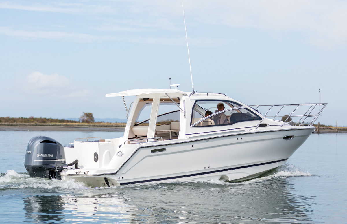 Cutwater is expanding further into outboard power with the launch of Sport Coupe models such as this Cutwater 24 Sport Coupe Open Bulkhead, which will debut at the Fort Lauderdale International Boat Show.