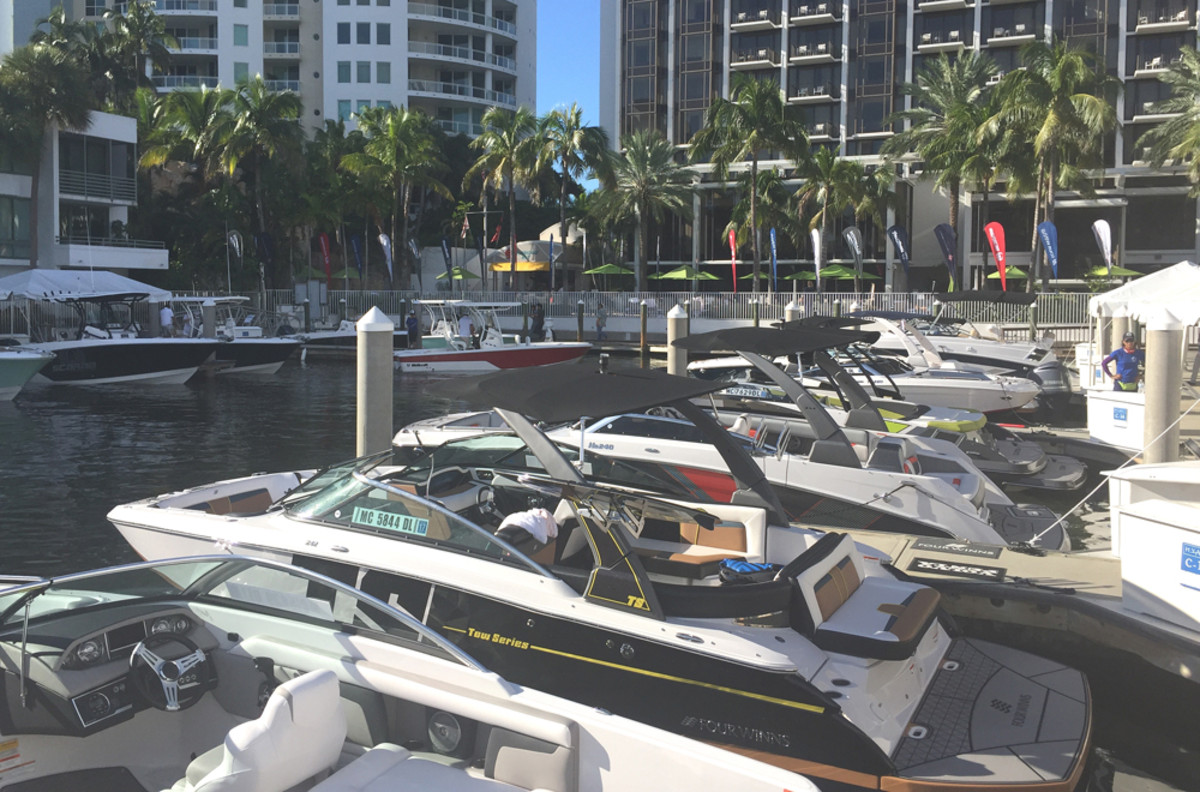 Groupe Beneteau is holding a dealer meeting this week in Sarasota, Fla., and displaying boats from six brands, including the American brands Glastron, Four Winns, Wellcraft and Scarab.