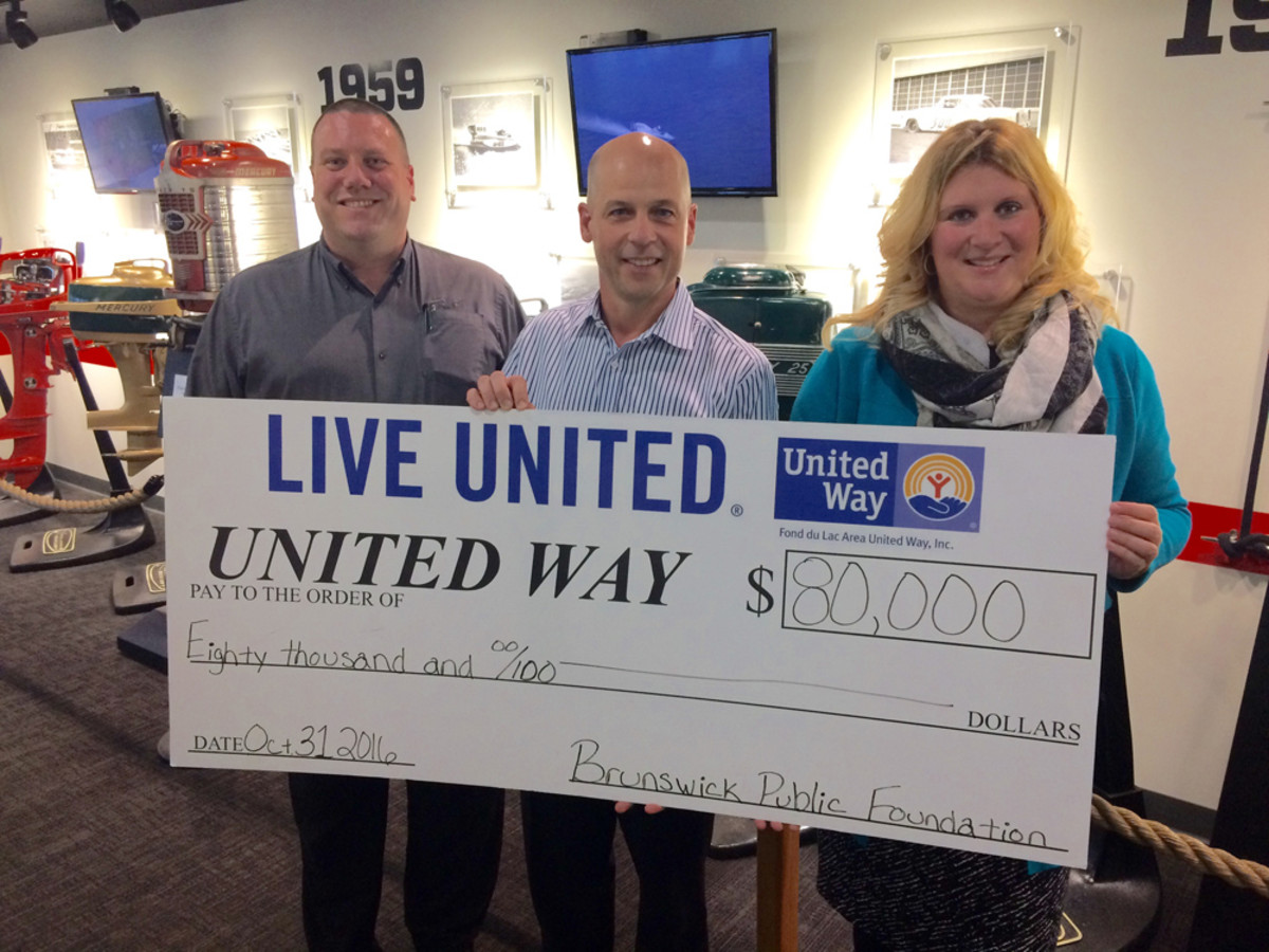 The United Way of Fond du Lac, Wis., is one of three United Way chapters that received a donation from the Brunswick Public Foundation. Shown are Mercury Marine president John Pfeifer (center), flanked by Marty Chy, board president of the Fond du Lac Area United Way, and Amber Kilawee, executive director of the Fond du Lac Area United Way.
