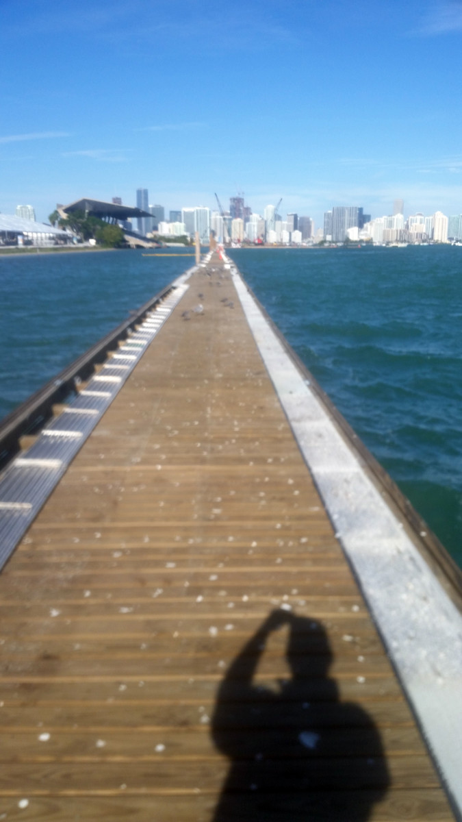 The Miami International Boat Show is being built on Key Biscayne, with this head pier just 60 feet shy of being 1/3 of a mile long.
