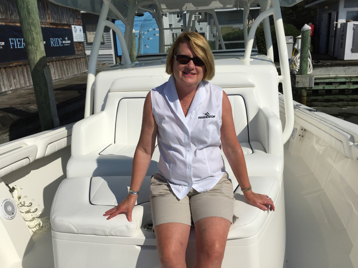 Regulator Marine president Joan Maxwell is shown with the company's new flagship Regulator 41.