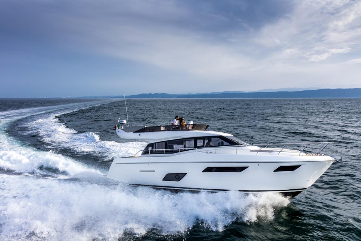 Two Cummins QSB 6.7 engines power the new Ferretti Yachts 450.