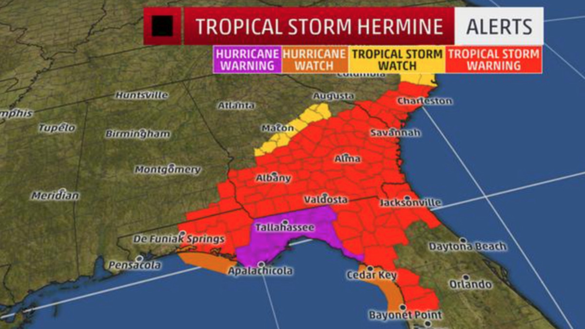 The Weather Channel issued this graphic to show the areas under threat.