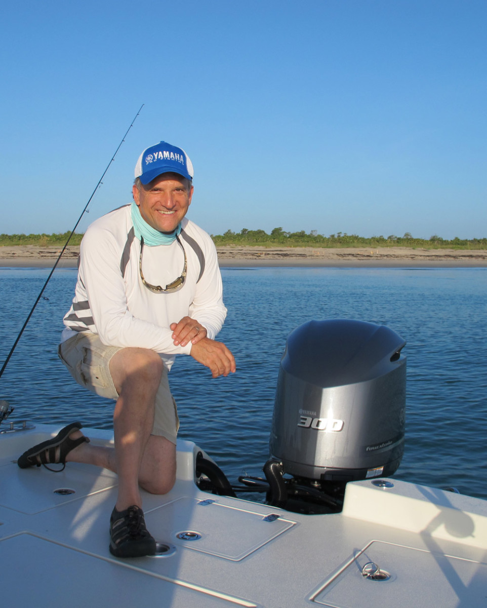 Yamaha product information manager David Meeler is shown aboard the Pathfinder 2600 TRS, which was powered by a Yamaha 300-hp four-stroke engine.