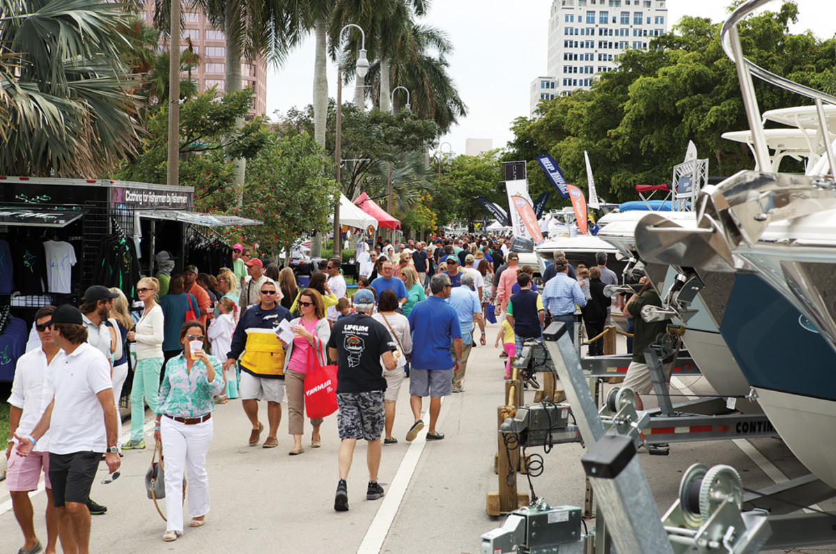 Crowds filled the on-land display area and the docks, which featured yachts up to 200 feet.