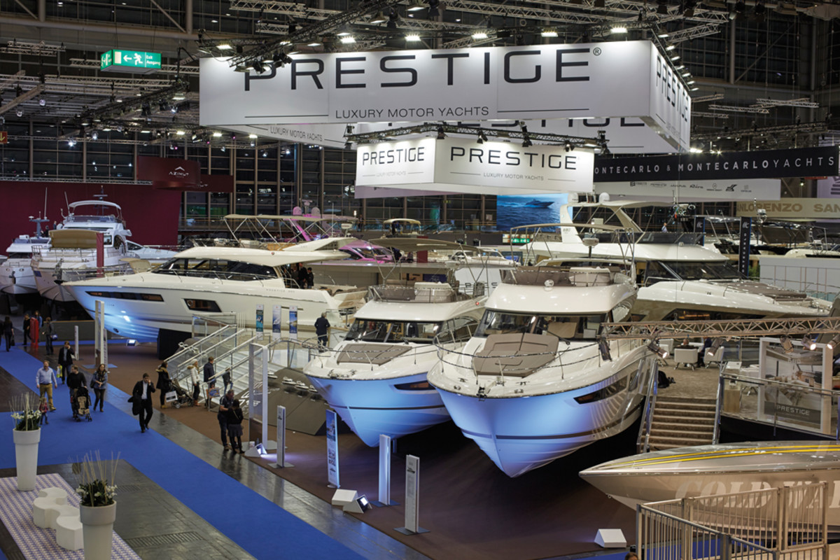 Prestige is one of the fastest-growing lines Harvey oversees. This is the Prestige display at the Dusseldorf Boat Show.