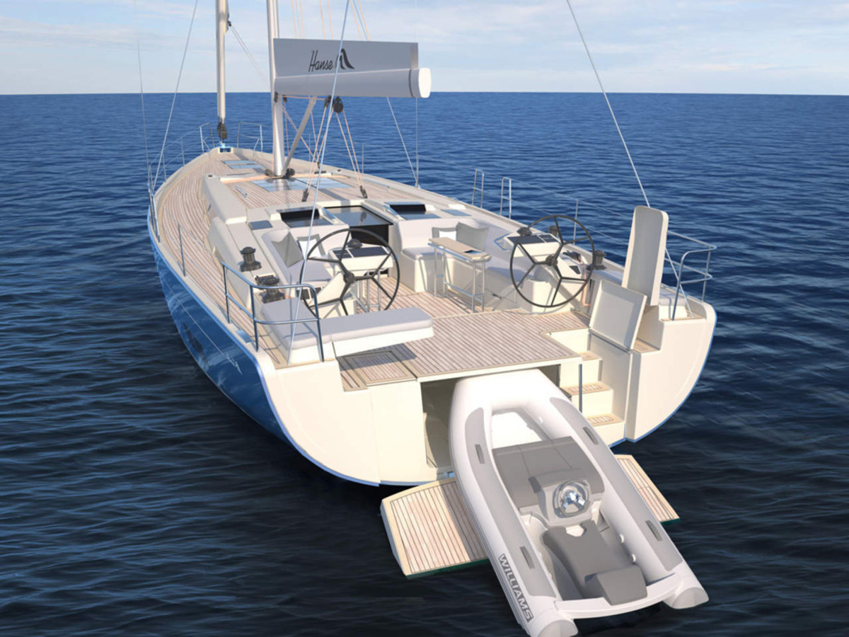 Hanse Yachts built the new 588 with this dinghy garage designed for a Williams Tender 280.