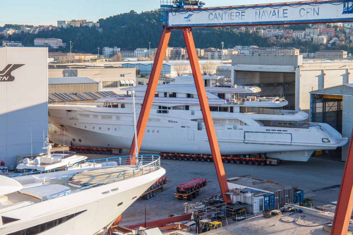 CRN moved M/Y CRN 135, which weighs more than 1,000 tons, from one hangar to another at its shipyard in Ancona, Italy.
