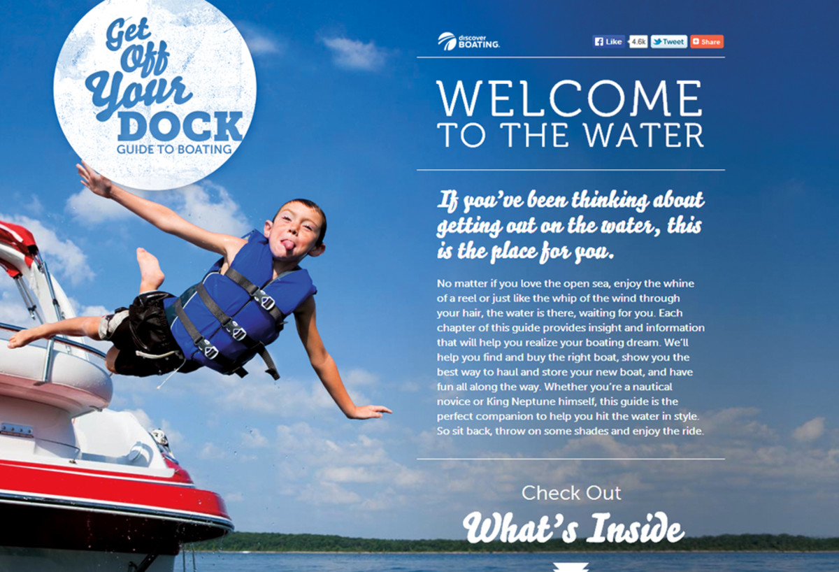 Discover Boating asks users to list their favorite on-water activities, then refers them to a manufacturer whose boats are a good fit for those interests.