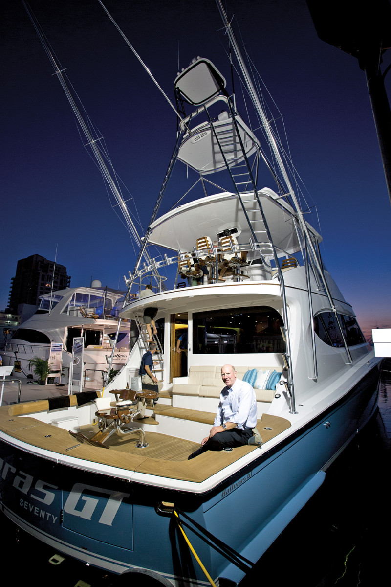 Hatteras top executive John Ward aboard the new GT70.