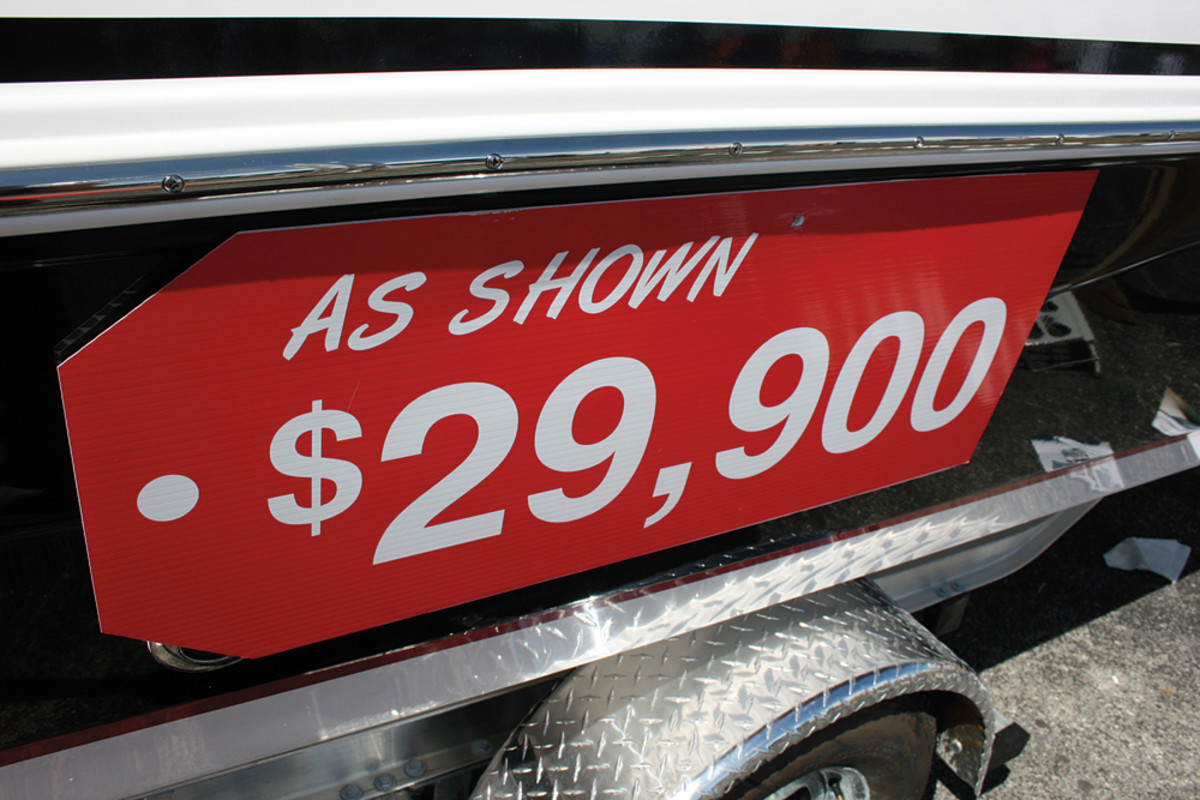 A trend at boat shows is for dealers to display pricing that might grab consumers' attention.