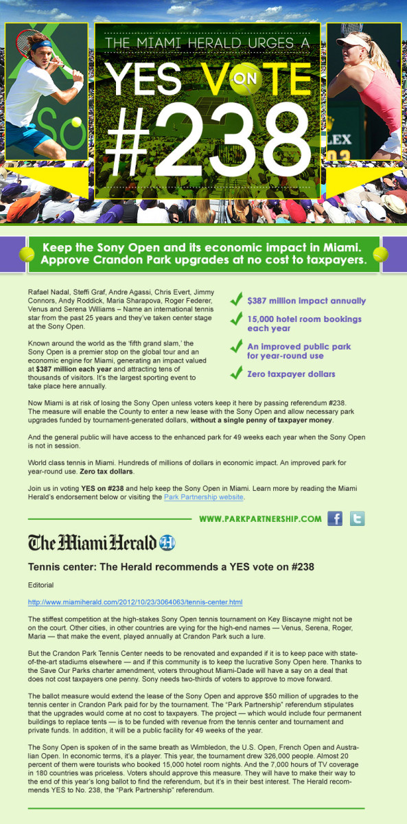 This email blast sent by Schwartz Media Strategies, the public relations firm that Key Biscayne hired to work against plans to relocate the Miami International Boat Show, highlights one of many op-eds the firm touts as helping gain long-term support for a tennis tournament on Key Biscayne that brings triple the number of visitors that at-tended the boat show last year.