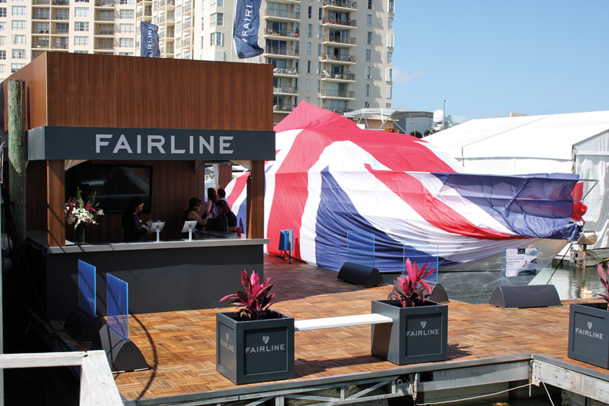 British manufacturer Fairline shows off its colors before unveiling one of its new models to the U.S. boating public at this year's Miami show.