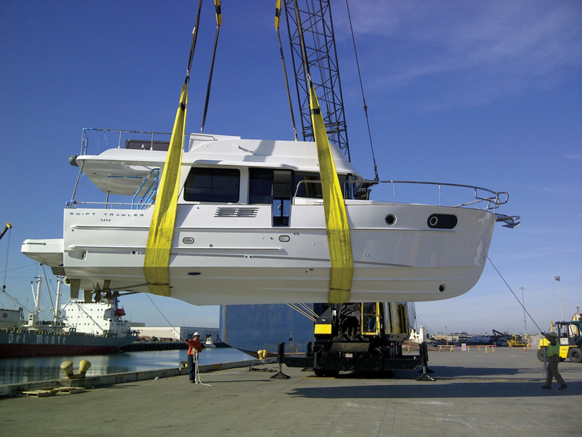 A Beneteau Swift Trawler 44 arrives in the United States.