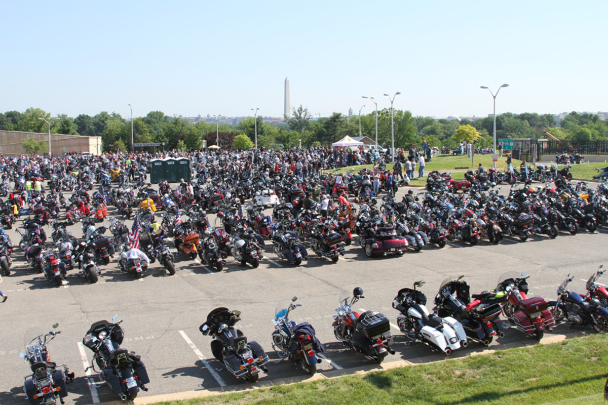 Bikers gather on Sunday in a Pentagon parking lot to participate in the Rolling Thunder XXVIII First Amendment Demonstration Run.