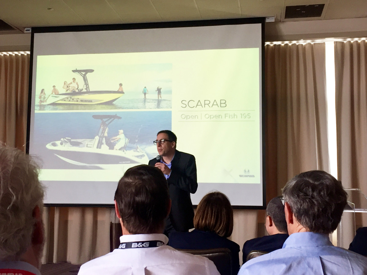 Christophe Lavigne, vice president of engineering and customer service for the four American brands Beneteau purchased in June 2014, speaks today at the Miami International Boat Show.