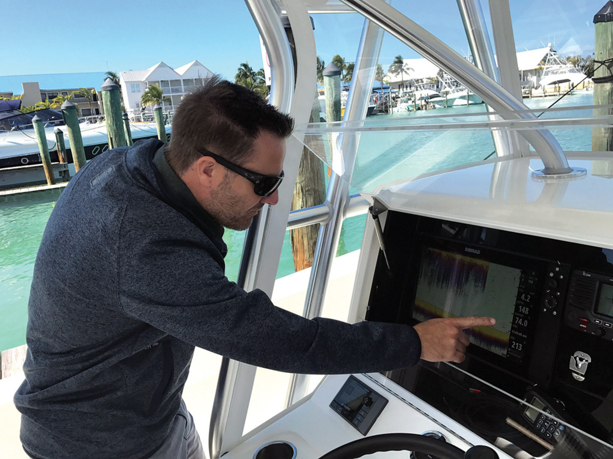 Navico's Mark Griffith operates a Simrad MFD now equipped with higher resolution through a technology called in-plane switching (IPS).