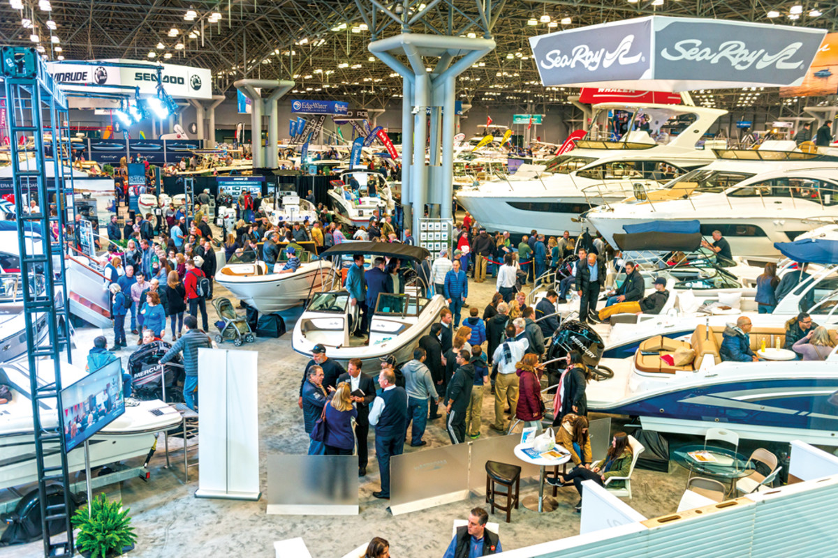 "Crowds inspect the floor displays at the New York Boat Show, including a ""bigger than ever"" Sea Ray presence."