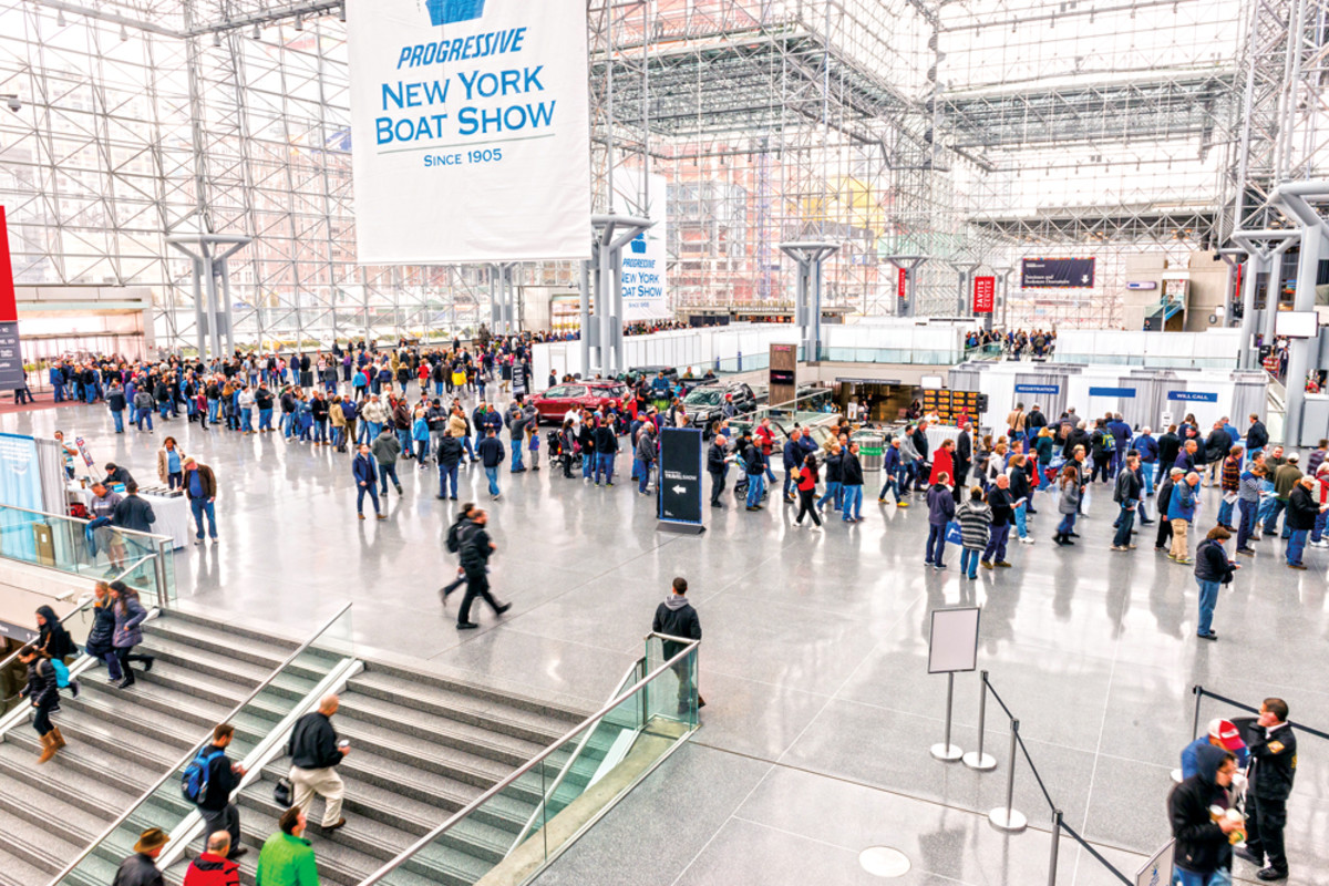 Crowds line up to enter the exhibition areas at midtown Manhattan's Jacob Javits Center.