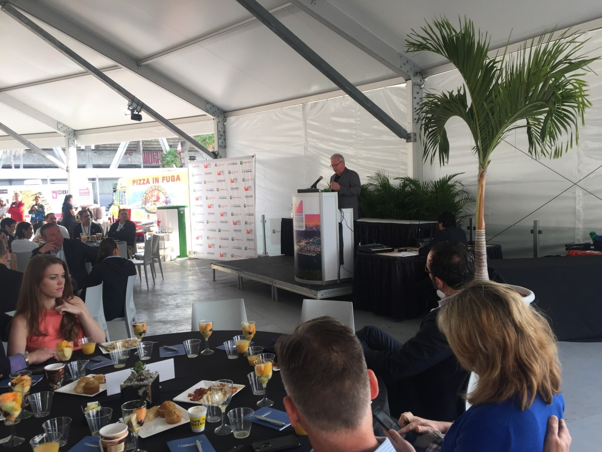 NMMA president Thom Dammrich speaks during the Innovation Breakfast this morning at the Miami International Boat Show.