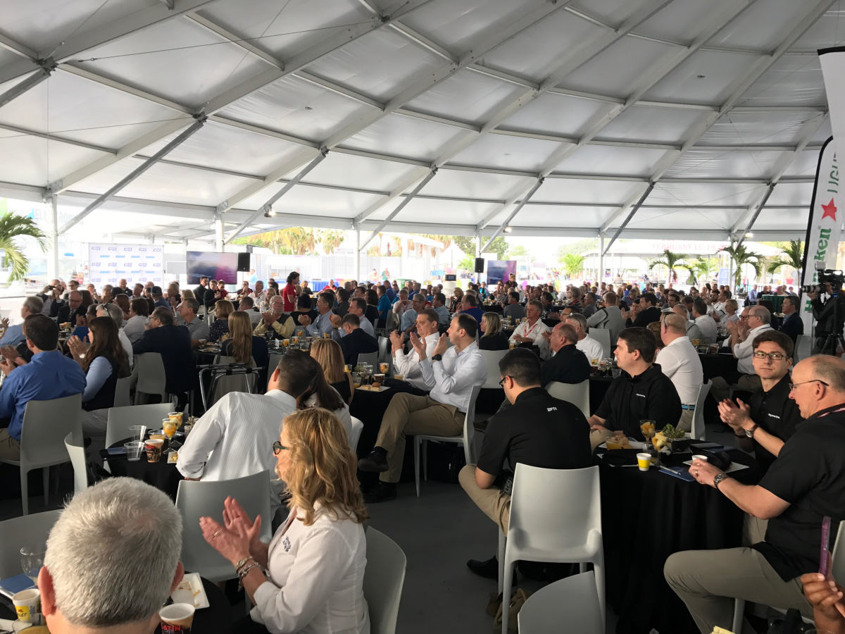 Several hundred people gathered this morning for the Innovation Breakfast at the boat show.