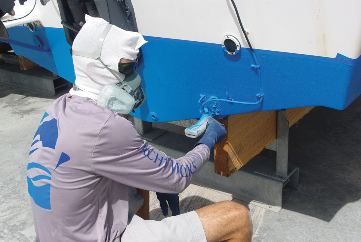 A bottom paint job is completed at Bayfront Yacht Works in Sarasota, Fla.