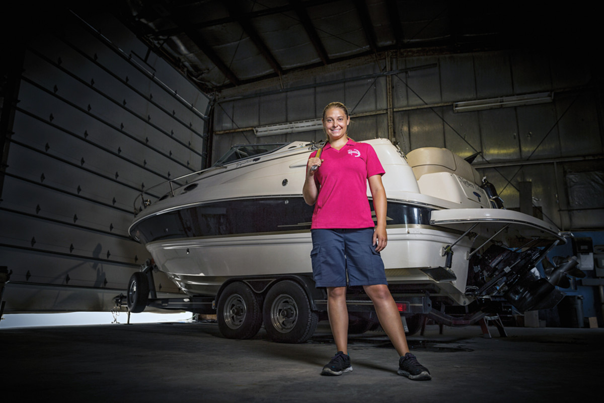 Kaitlyn Schneider is a mechanic at Lakeside Marina in Oshkosh, Wis. — a woman in a predominantly male field. Her training was the result of a collaboration between engine manufacturer Mercury Marine and the Marine Mechanics Institute in Orlando, Fla.