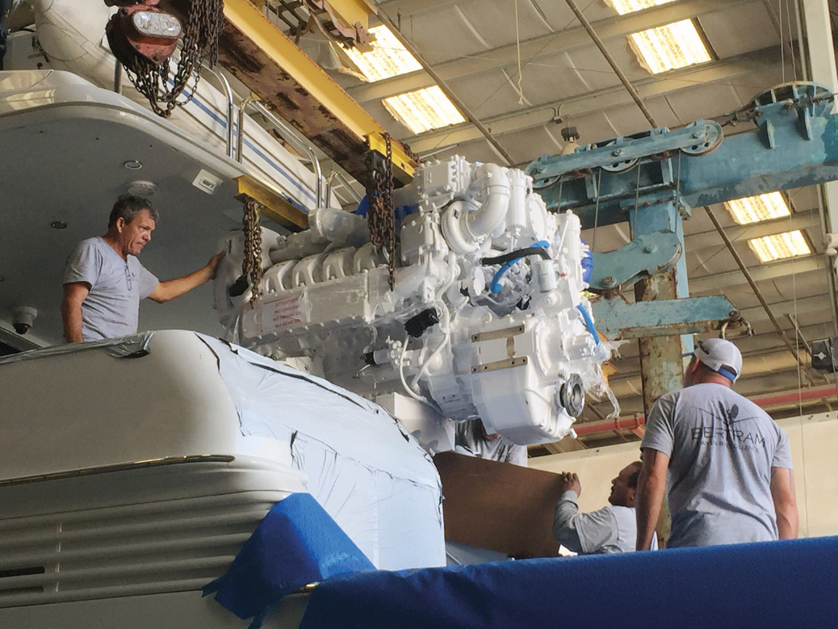 There's plenty of work to be done at U.S. boatyards. A Bertram team installs an engine at its Tampa, Fla., yard.