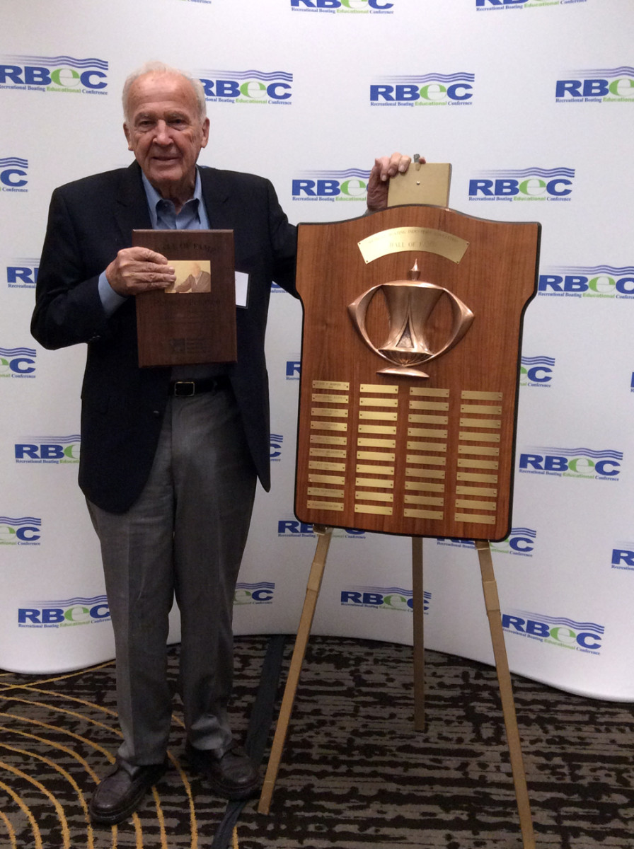 RJ Peterson, the owner of Tower Marine for 48 years, was inducted into the MBIA Hall of Fame.