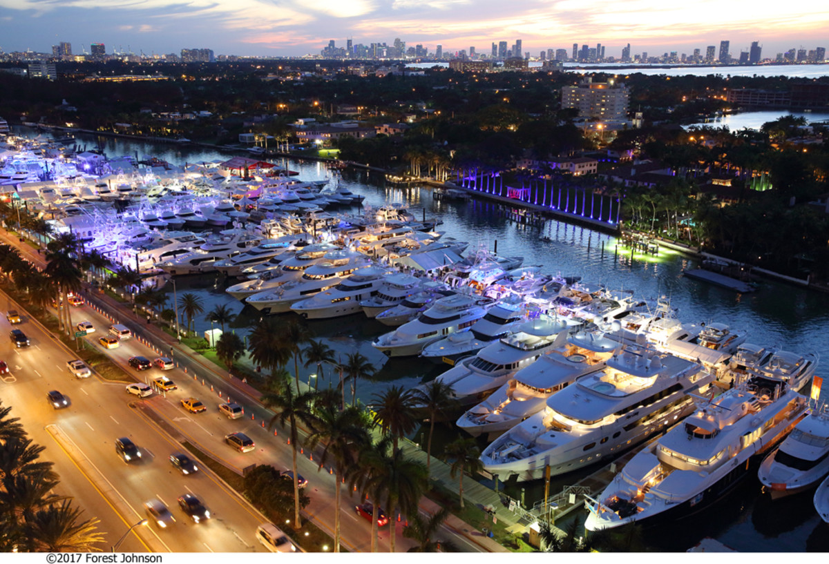 An aerial snapshot of the Collins Avenue event shows some of the estimated 800 boats that were on display at the Yachts Miami Beach show.