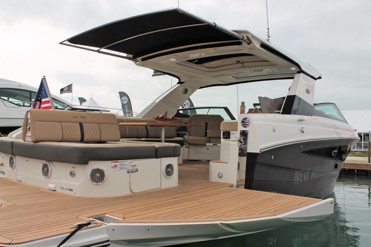 A SureShade installation on a Sea Ray SLX 400.