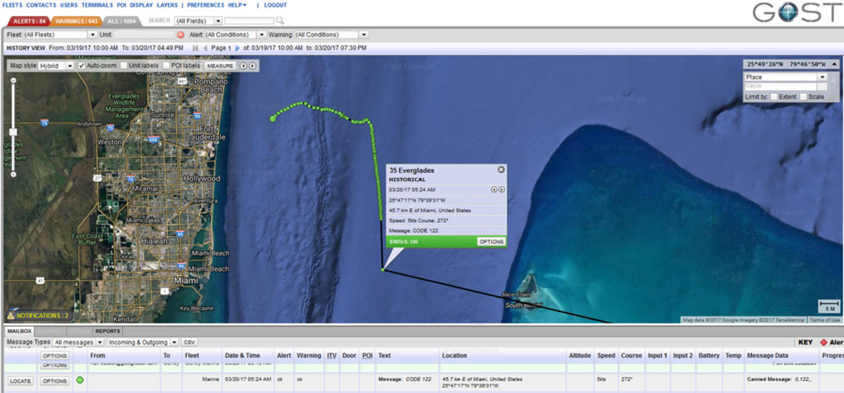 This image from GOST shows the location of the Everglades center console. It had been under tow, but went adrift after the tow line was severed in heavy seas.