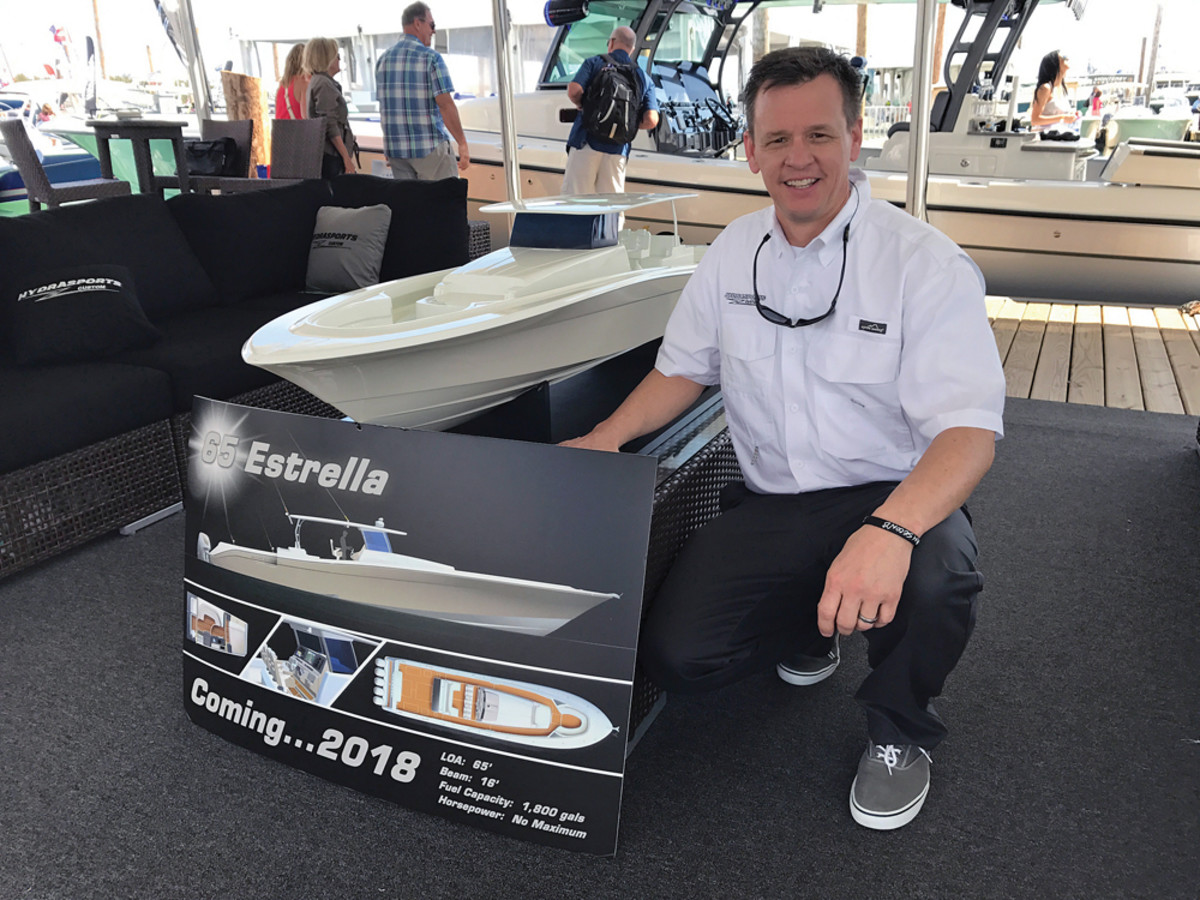 "Kurt Bergstrom, HydraSports Custom director of engineering, says the 65 Estrella is designed for ""desination fishing.""  The boat holds 1,800 gallons of fuel."