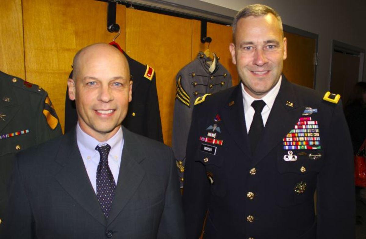 Mercury Marine president John Pfeifer is shown with Army Brig. Gen. Brian Winski at the company's Veterans Day event.
