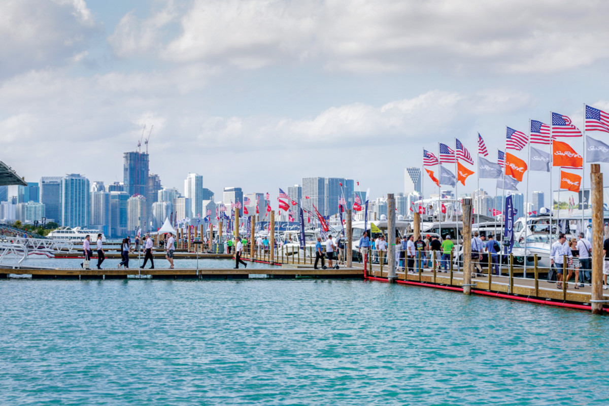 In-water displays and views of the Miami skyline are two of the attractions the show can offer in its new venue on Virginia Key.