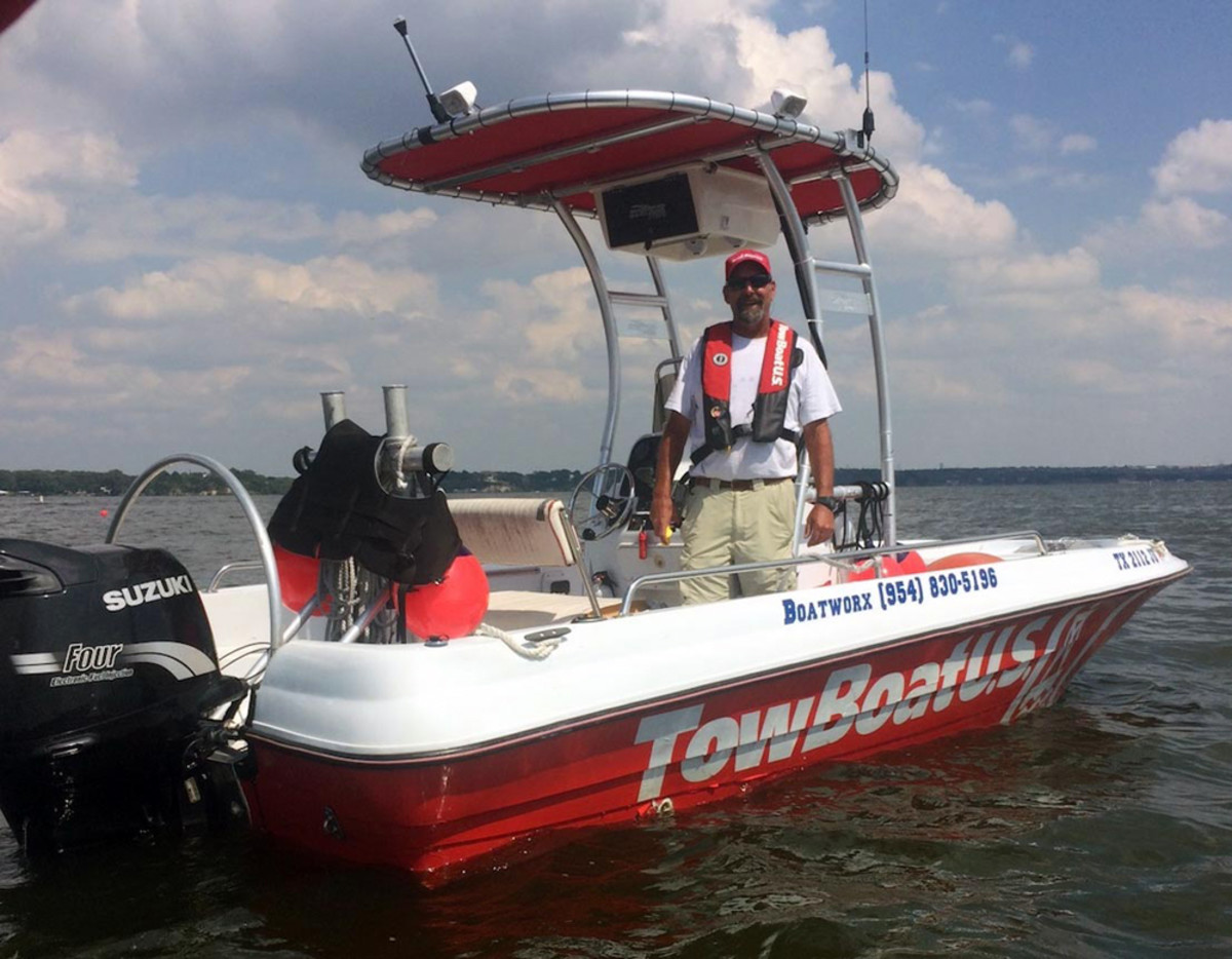 Capt. Jason Dyer serves Eagle Mountain Lake in Texas with a 19.5-foot Triumph 190 that has a 140-hp Suzuki four-stroke outboard.
