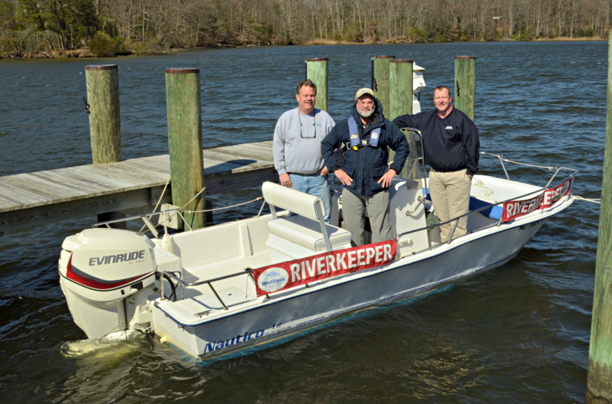 West/Rhode Riverkeeper in Maryland has a refurbished 90-hp Evinrude E-TEC engine on its 18-foot center-console runabout.