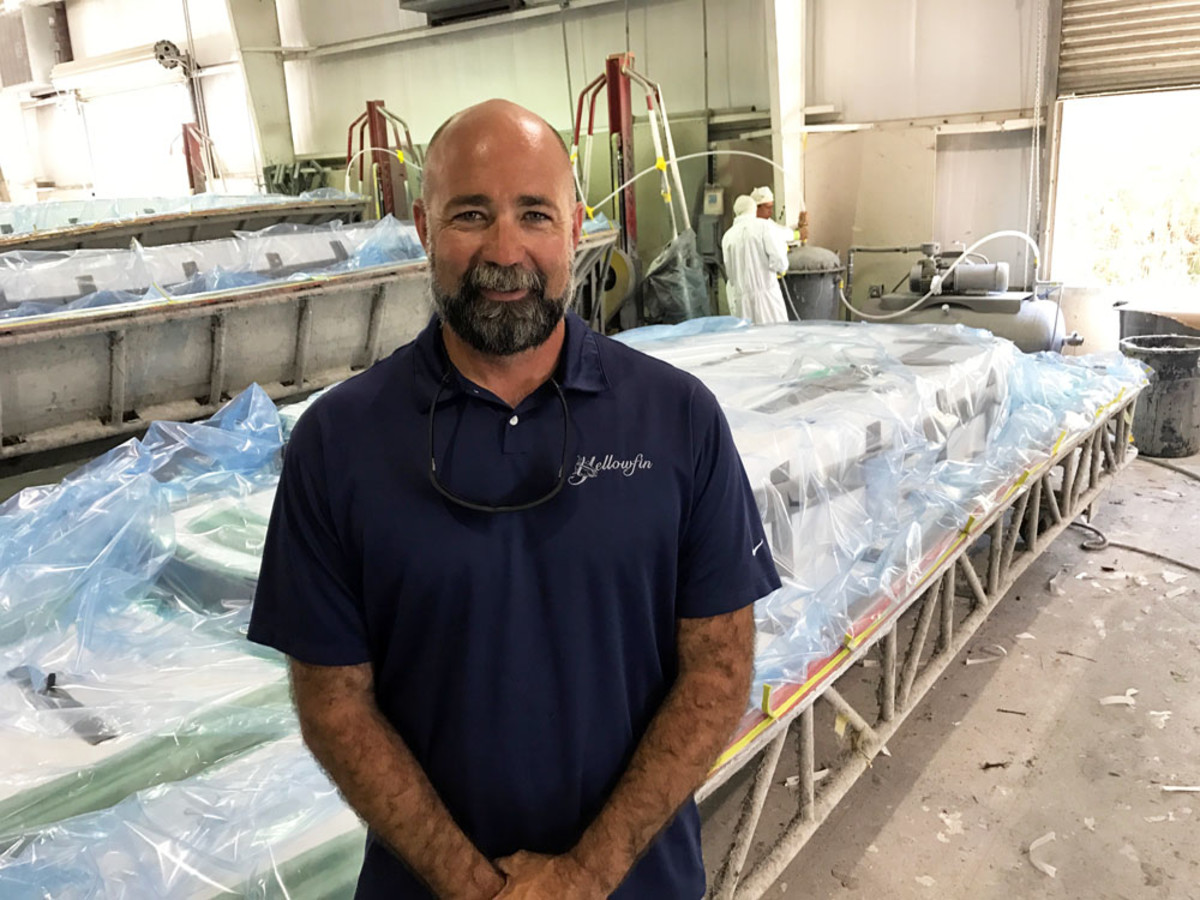 Yellowfin Yachts uses a laminate matrix of Kevlar, carbon fiber and e-glass to build its Carbon Elite in a vinylester resin infusion process, said vice president Heath Daughtry.