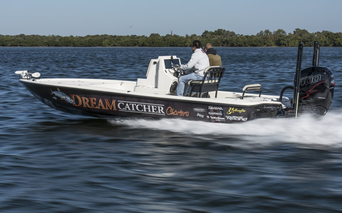 The builder's first boat in its Carbon Elite series was the 24 Bay CE. With a Mercury Verado 400R engine, the top speed is about 70 mph.