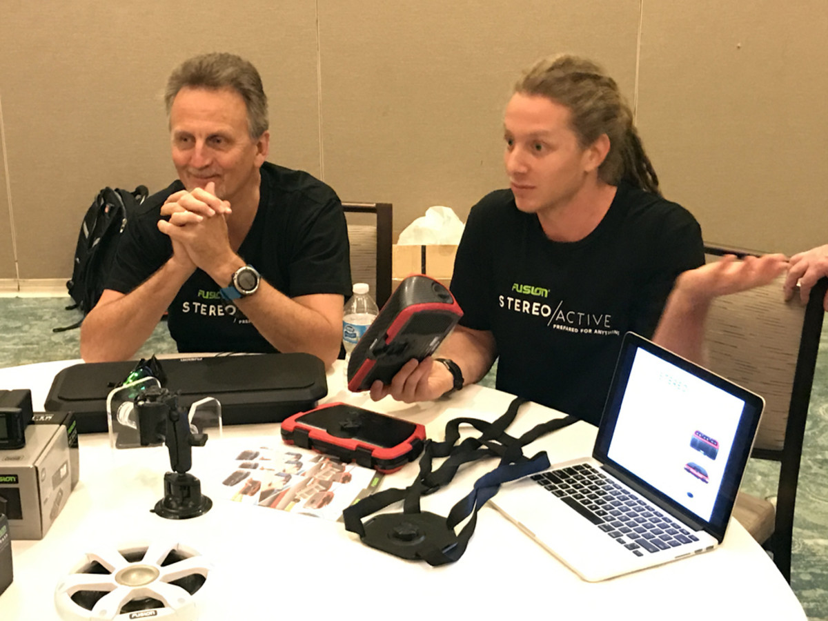 Representatives from Fusion discuss the Fusion StereoActive, a portable watersports stereo.