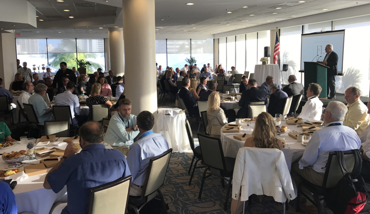 Members of the marine industry gathered this morning for the industry breakfast at the Fort Lauderdale show.
