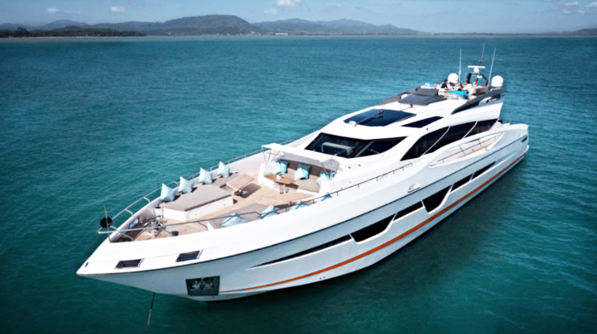 Accommodations of the Numarine 105 HT include three fully en-suite guest cabins and a full-beam master cabin.