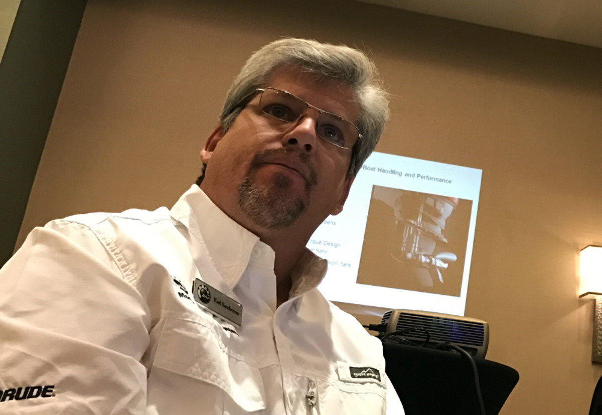 Karl Sandstrom, a marine consultant for Evinrude, gave a 60-minute presentation about the E-TEC G2 outboard technology.