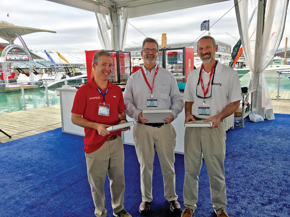From left: Chesapeake Bay's John Stefancik, Trade Only and Anglers Journal's Bill Sisson and Lenny Rudow of Dominion.