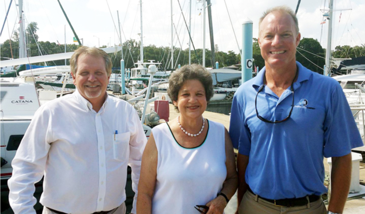 Shown are Jeff Erdmann (left), of Denison Yacht Sales; U.S. Rep. Lois Frankel, D-Fla.; and Staley Weidman, chairman of the IYBA's legislative affairs committee.