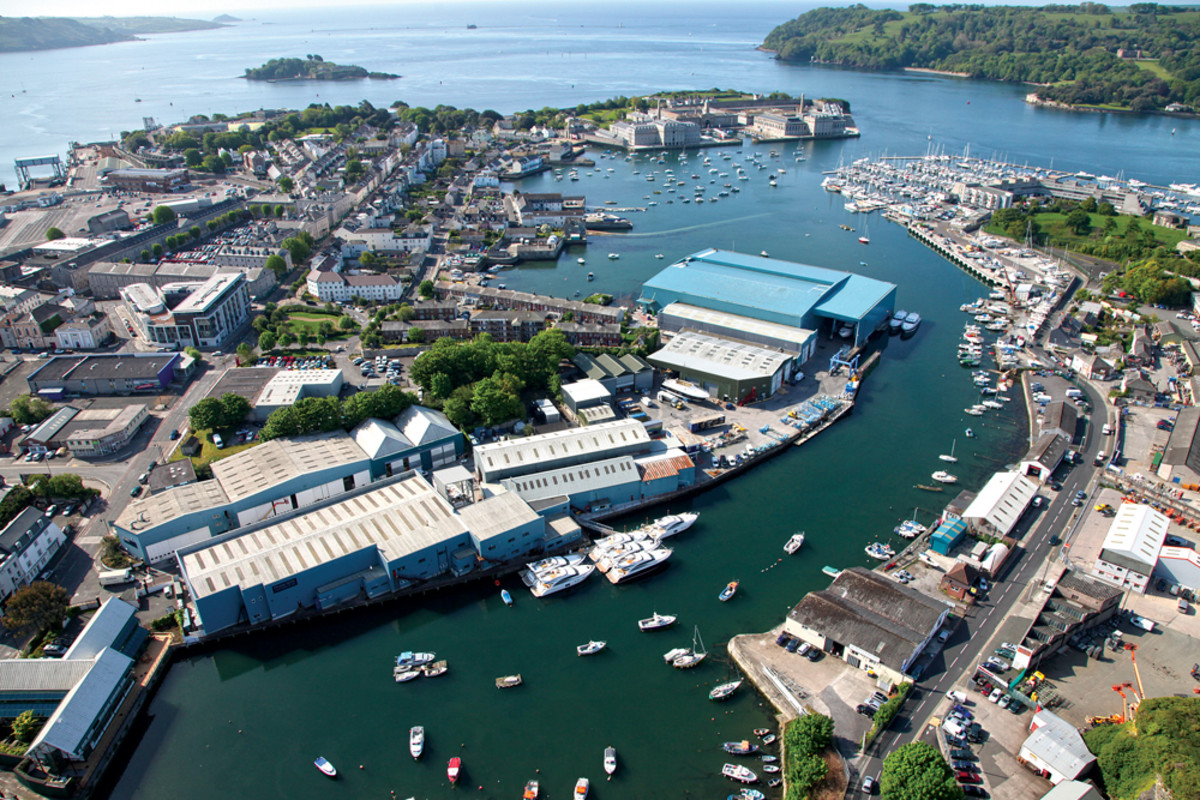 The shipyard in Plymouth, England, where more than 80 percent of the yachts are constructed.