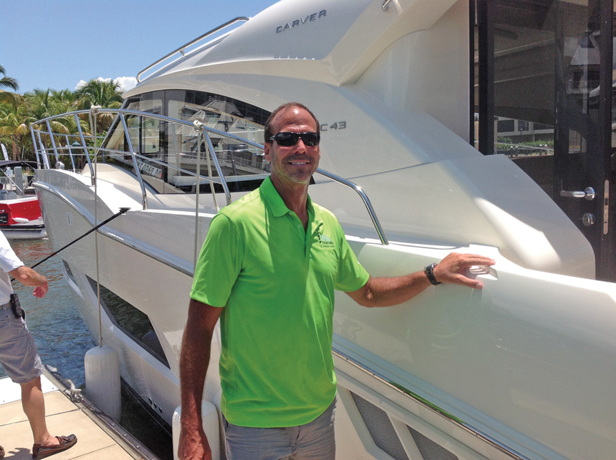 Marquis-Larson Group president and CEO Rob Parmentier shows off the new Carver C43.