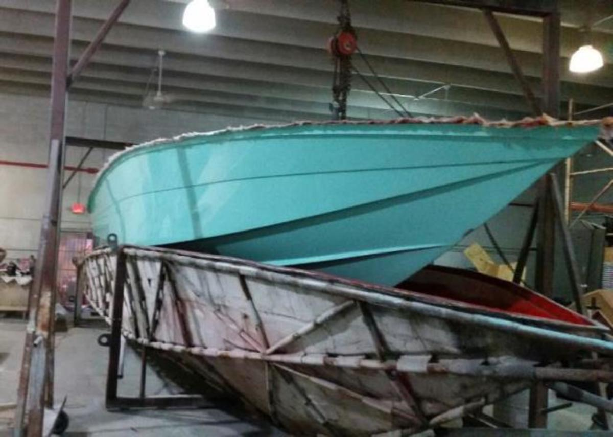 The hull of an Adrenalizer 38 emerges from its mold.