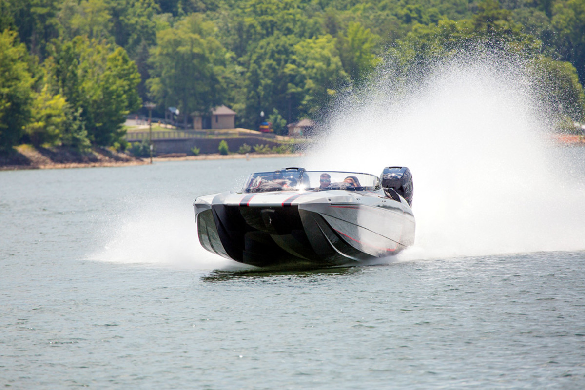 Demo rides aboard a DCB M29 catamaran with twin Mercury R400s hit speeds of more than 100 mph.